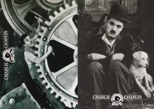 Charlie Chaplin With Dog & As Stuntman 2x Anniversary Limited Postcard s