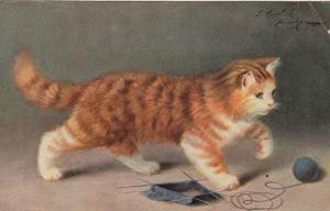 AS: Ginger and White Kitten playing with a ball of yarn, PU-1907