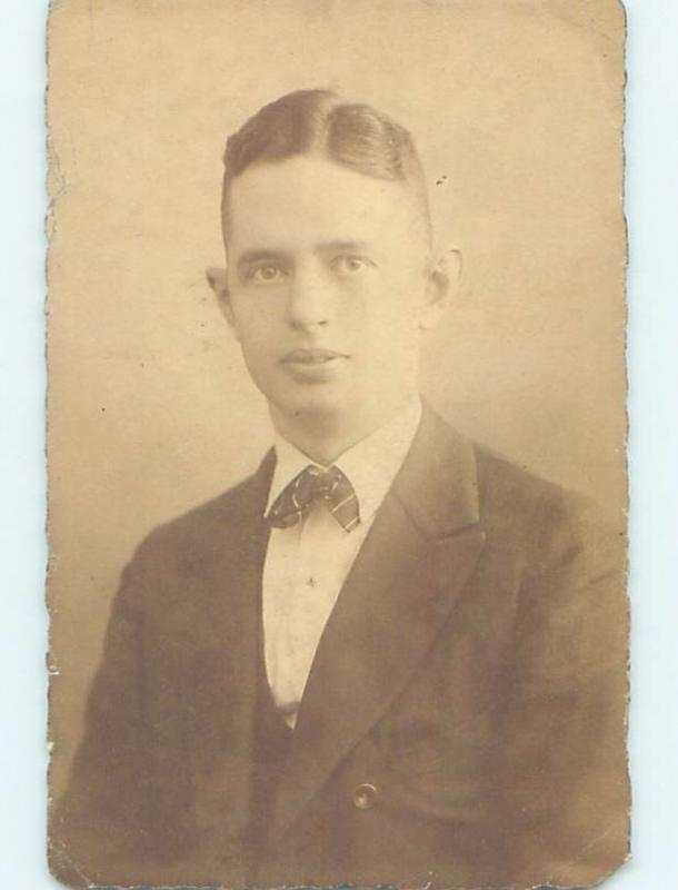 1923 rppc HANDSOME MAN IN SUIT AND BOW TIE - GAY INTEREST HM1162