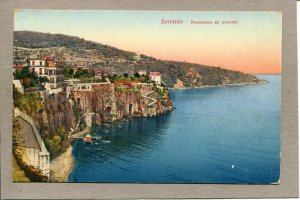 Postcard Italy Sorrento Aerial View Shoreline Water Cliffs Panorama c1915 -870