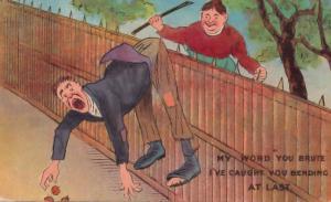 Peeping Tom Caught Spanking Antique Comic Humour Postcard
