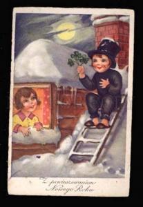 023046 Funny Kid CHIMNEY SWEEP vintage NEW YEAR