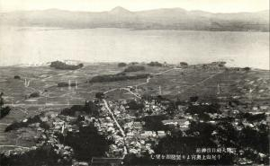 japan, ŌTSU, Viewing Lake Biwa from Okumiya of Mt. Ushio, Kanpei-taisha Hiyoshi