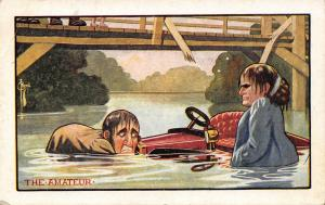 C Ryan Comic~The Amateur~Couple in Vintage Car Drive off Bridge~In the Drink
