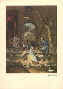 Postcard artist signed painting Jan Steen the poultry yard