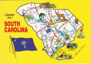 Greetings From South Carolina With Map