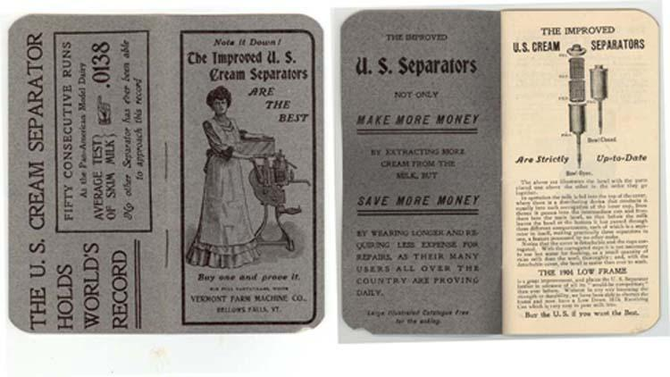 Bellows Falls, VT U.S. CREAM SEPARATORS ad booklet 1904