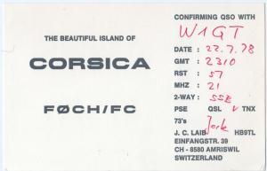 QSL, F0CH/FC, Corsica, 1978