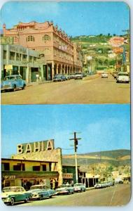 ENSENADA, Baja California  Mexico  HOTEL PLAZA, HOTEL BAHIA  1950s Cars Postcard