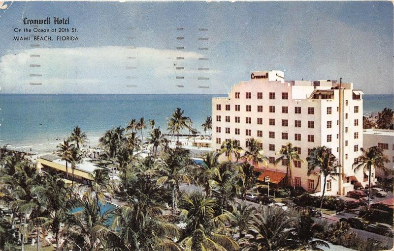 Miami Beach Forida~Cromwell Hotel~Ocean in Distance~Lots of Palm Trees~1959 Pc