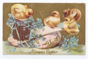 Chicks Teeter Totter Egg Gold Embossed Postcard 1909
