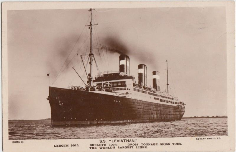 SHIP Real Photo RPPC Postcard S.S. LEVIATHAN 3524B Rotary Image Largest Liner 1
