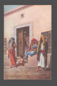 079515 EGYPT Slave Girls w/ baby HAREM Cairo Vintage PC