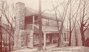 Cincinnati Zoo~Kemper Log Cabin~Stone Fireplace Chimney~Sepia Patriotic Society
