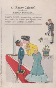 Agony Aunt Column Sending Kisses Post Antique Hotel Porter Comic Humour Postcard