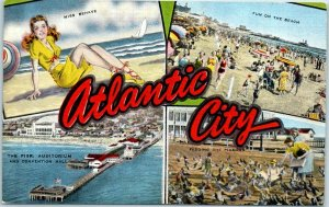 1940s ATLANTIC CITY NJ Multi-View Postcard w/ 4 Beach Scenes KROPP Linen Unused