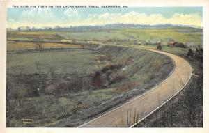 Glenburn Pennsylvania~Hair Pin Turn on Lackawanna Trail~Farm on Right~1920s Pc
