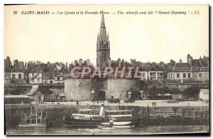Old Postcard Saint Malo Quays and The Great Gate Boat