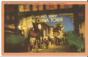 Postcard, Ginling Way New China Town Los Angeles California Street Night Sc