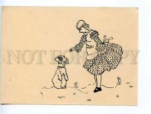 241382 FINLAND SILHOUETTE Airedale DOG & girl Vintage postcard