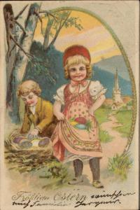 Happy Easter Joyeuses Paques Frohliche ostern eggs basket children chromo emboss