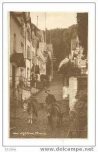 RP: Street Vendor Walking Down High Street w/ 2 Donkeys, Clovelly, Devon, Eng...