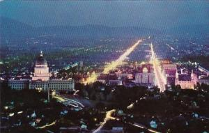 Salt Lake City With The Brilliant Lighted State Capitol At Night Salt Lake Ci...