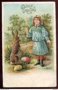 dc953 - EASTER 1908 Rabbit Girl & Eggs. Gilded. Embossed