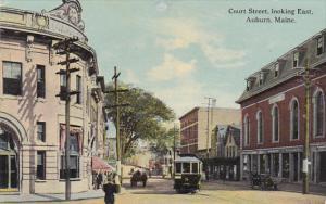 Maine Auburn Court Street Looking East Trolley