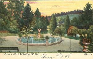 Wheeling West Virginia~Fountain in Park~Flower Urns~Foot Bridge~1908 IPCC