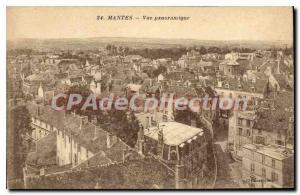 Old Postcard Mantes Panoramic view