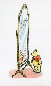 Winnie The Pooh With Giant Tall Mirror AA Milne Book Postcard