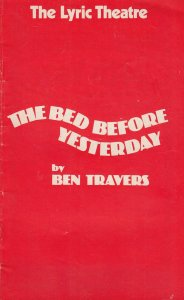The Bed Before Yesterday Sheila Hancock Comedy Lyric Theatre Programme
