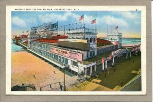 Postcard NJ Atlantic City Young's Million Dollar Pier Aquariums c1936 1206A