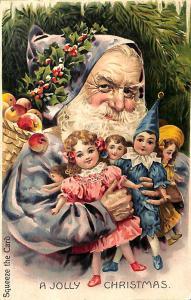 Rare A Jolly Christmas Squeaker Santa Claus Dolls Still Squeaks!  Postcard
