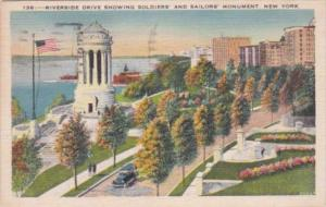 New York City Riverside Drive Showing Soldiers and Sailors Monument 1937