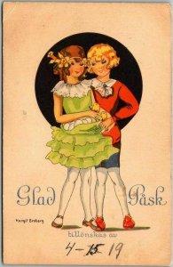 Vintage Sweden Swedish EASTER Postcard GLAD PASK Girls Fashion 1919 Cancel