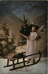 CPA Angel with a Pine Tree and a Sled ANGELS (777313)