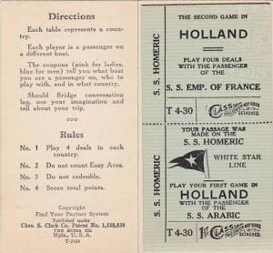 Play BRIDGE (Card Game) abroad, Ocean Liner score pad; SS DEUTSCHLAND, SS ILE...