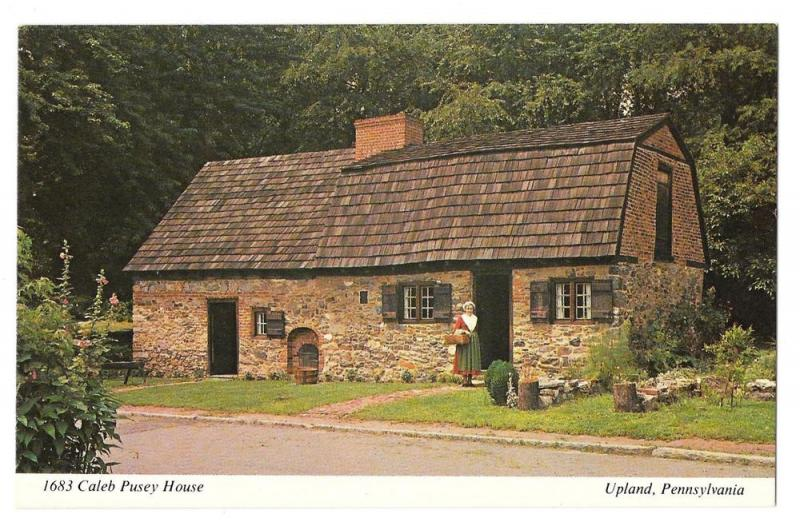 Upland PA Caleb Pusey House Erected 1683 Postcard