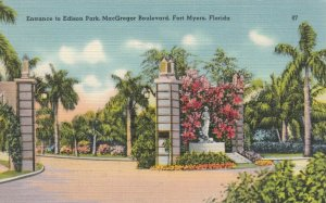 FORT MYERS, Florida, 30-40s; Entrance to Edison Park, MacGregor Boulevard