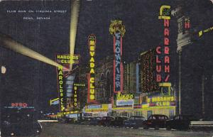 Club Row On Virginia Street At Night Reno Nevada 1958