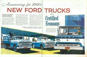 1959 Ford Trucks Vintage Print Ad TWO PAGES For 1960 With Certified Economy