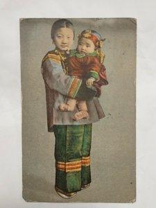 Postcard Asian Girl And Baby Traditional Dress Handcolored 1914 San Francisco NY