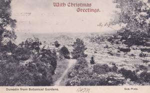 Dunedin Auckland New Zealand From Botanical Gardens Christmas Postcard