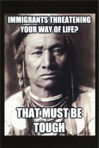 Native American Immigrant Threat Quote Political Humor Postcard