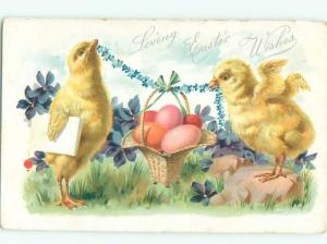Pre-Linen Easter CUTE CHICKS HOLDING UP EGG BASKET AB3924