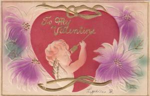 VALENTINES DAY; To My Valentine, Cupid holding arrow, Purple flowers, 00-10s
