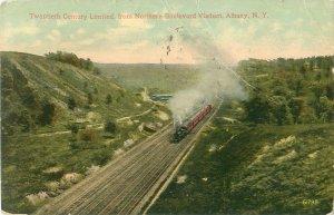 20th Century Ltd Train from Northern Blvd Viaduct, Albany NY Postcard