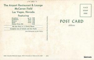 1950s Airport Restaurant Lounge McCarran Field LAS VEGAS NV postcard 9987
